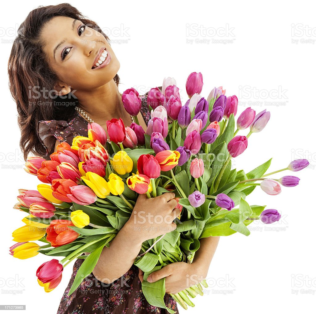 Attractive Young Asian Woman with Bunch of Tulips royalty-free stock photo