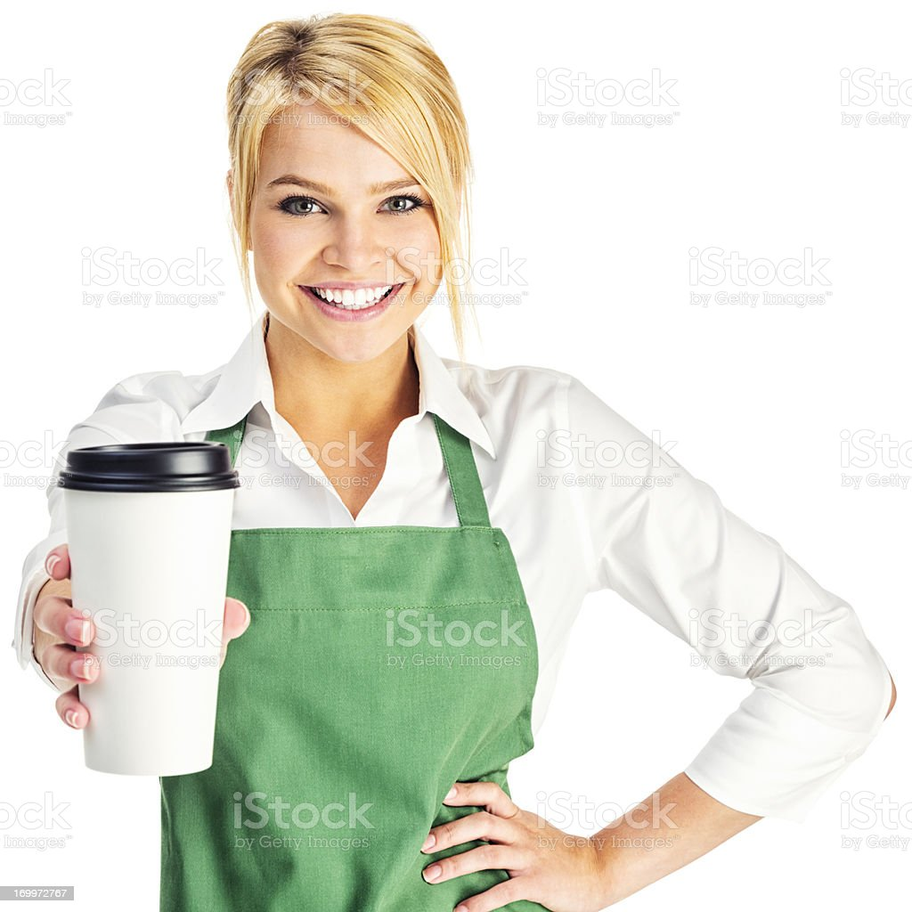 Attractive Young Barista with Coffee to Go stock photo
