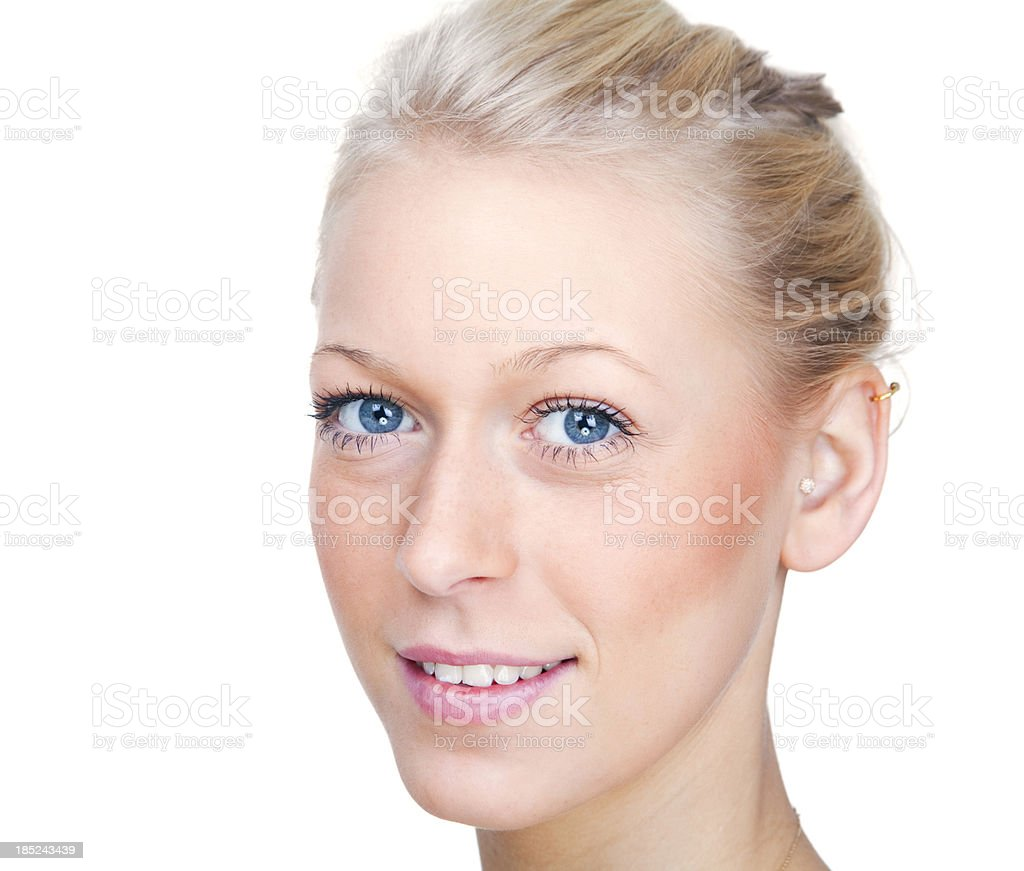 attractive young blond female portrait on white royalty-free stock photo