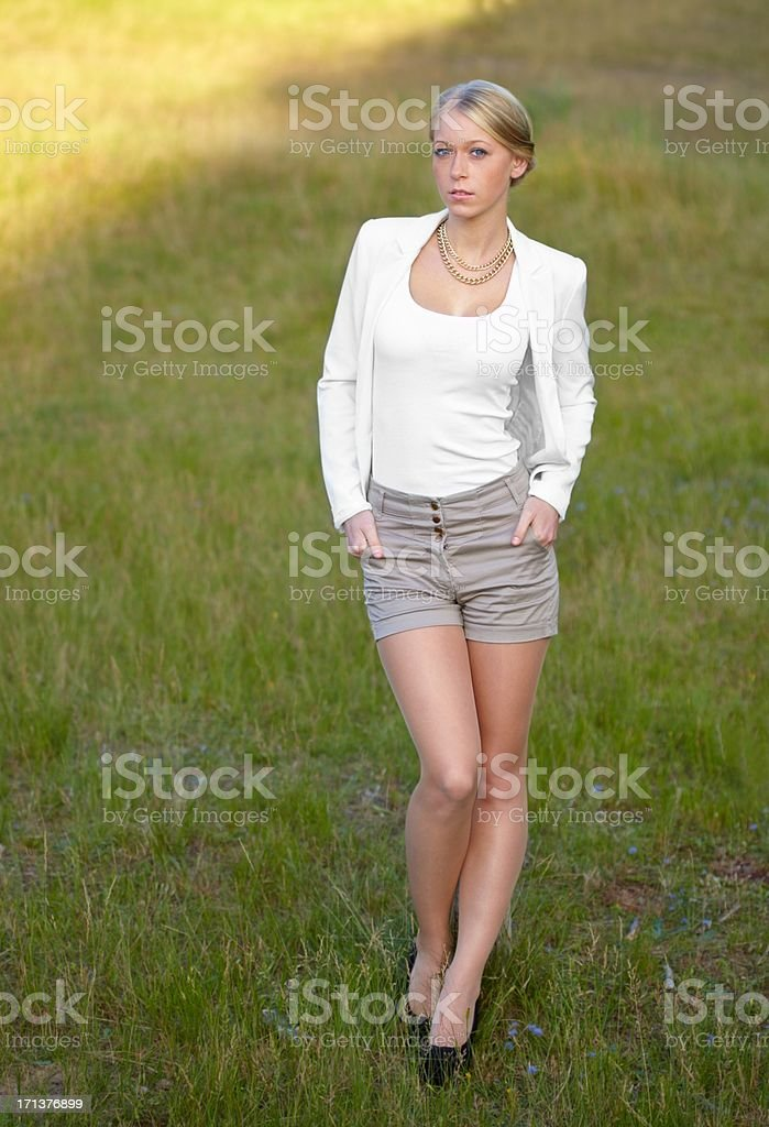 Attractive young blond woman portrait stock photo