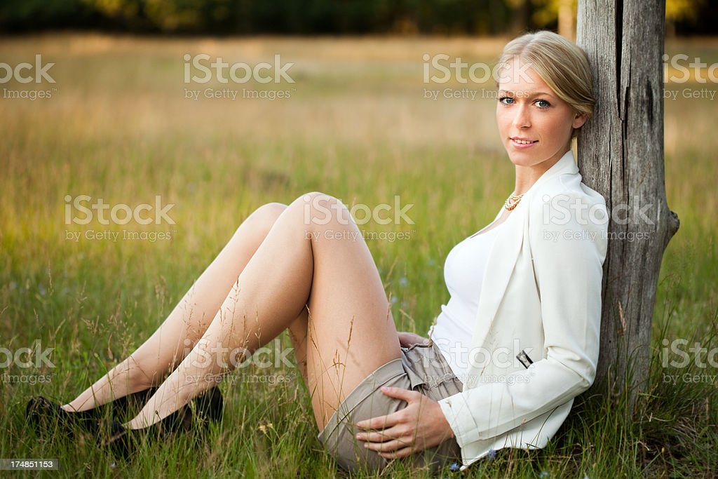 Attractive young blond woman portrait royalty-free stock photo