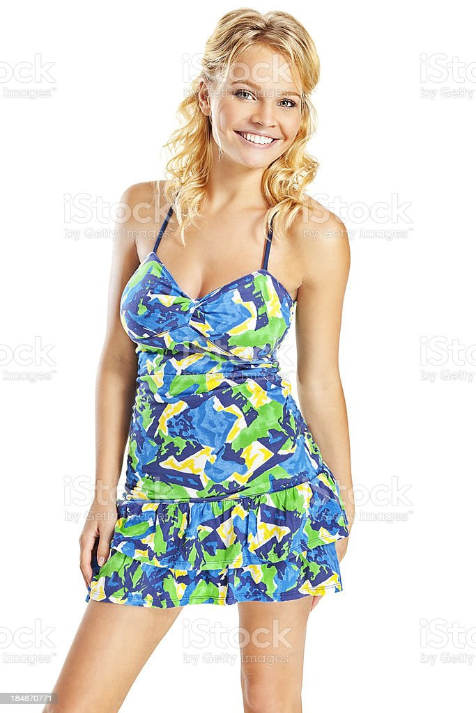 Attractive Young Blonde Woman in Blue and Green Dress stock photo