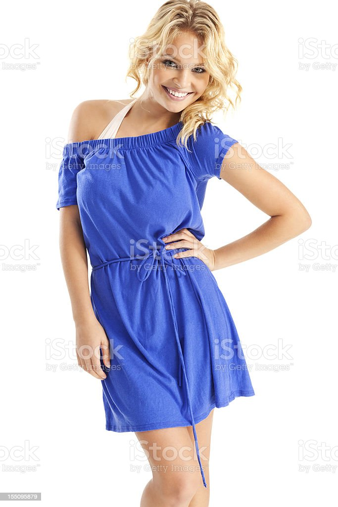 Attractive Young Blonde Woman in Blue Beach Cover-up stock photo