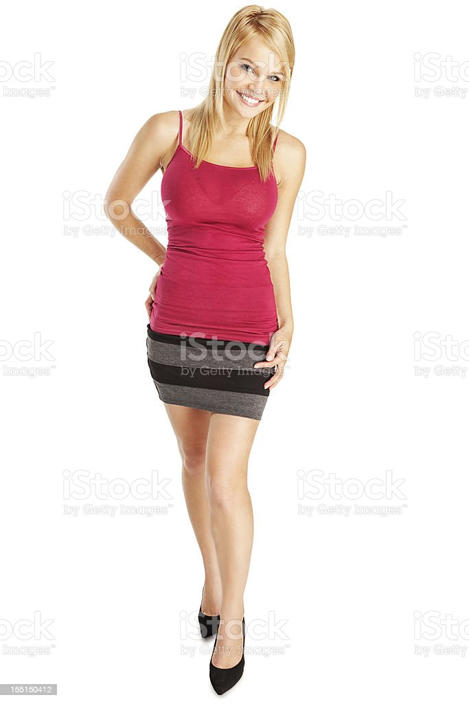 Attractive Young Blonde Woman in Red Camisole and Gray Skirt stock photo