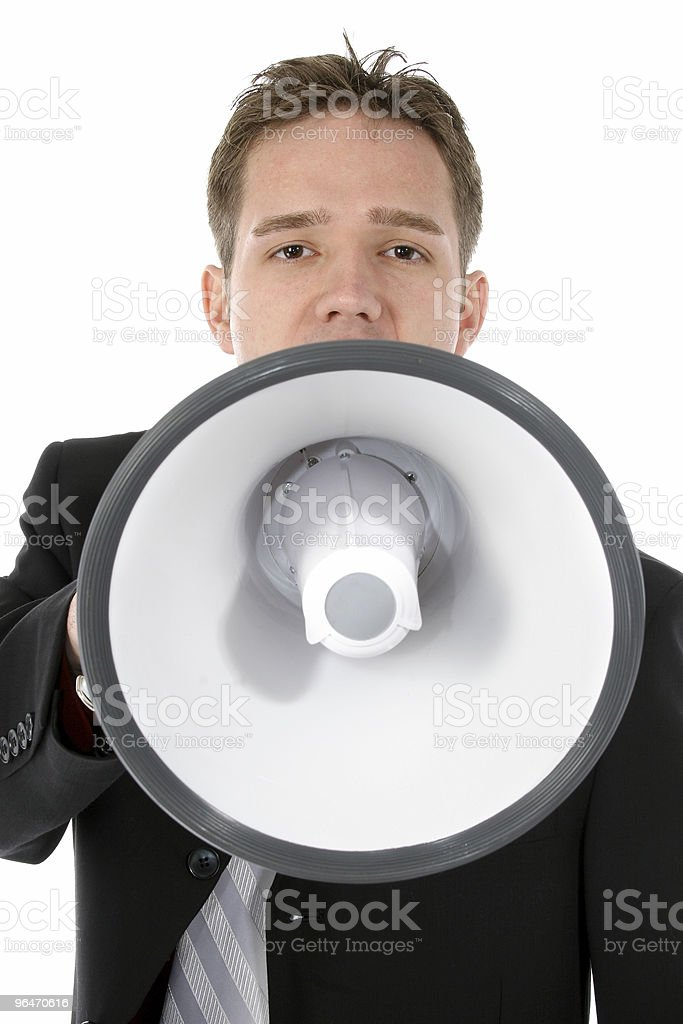 Attractive Young Business Man with Bullhorn stock photo
