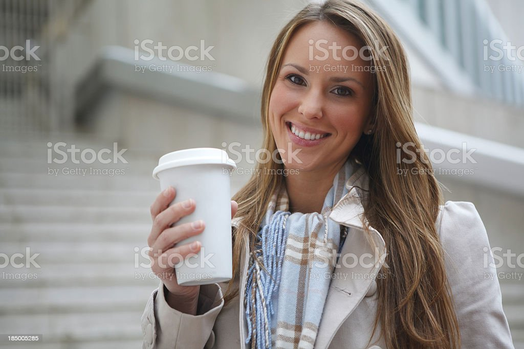 Attractive Young Business Woman with Coffee To Go royalty-free stock photo