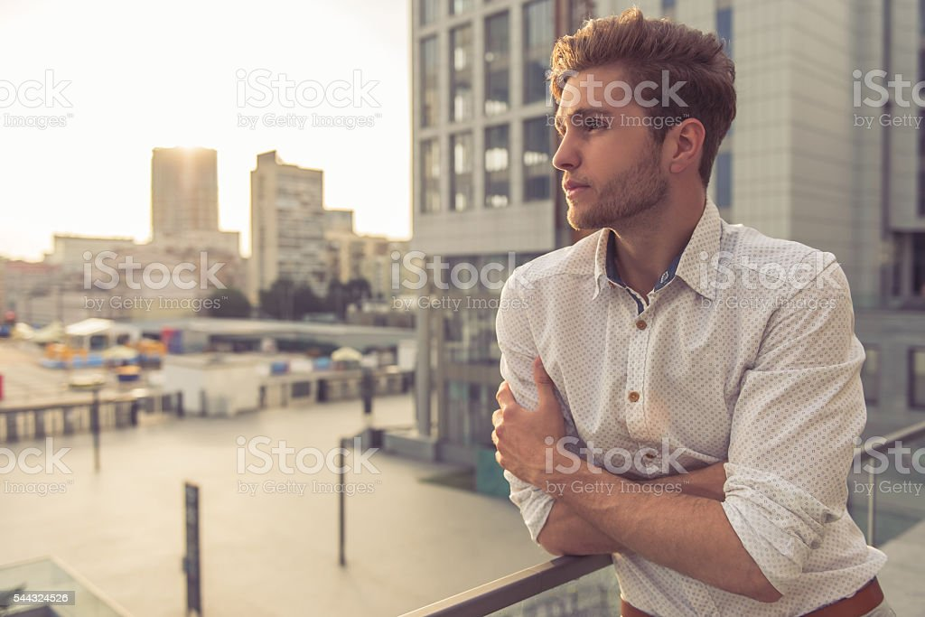 Attractive young businessman stock photo
