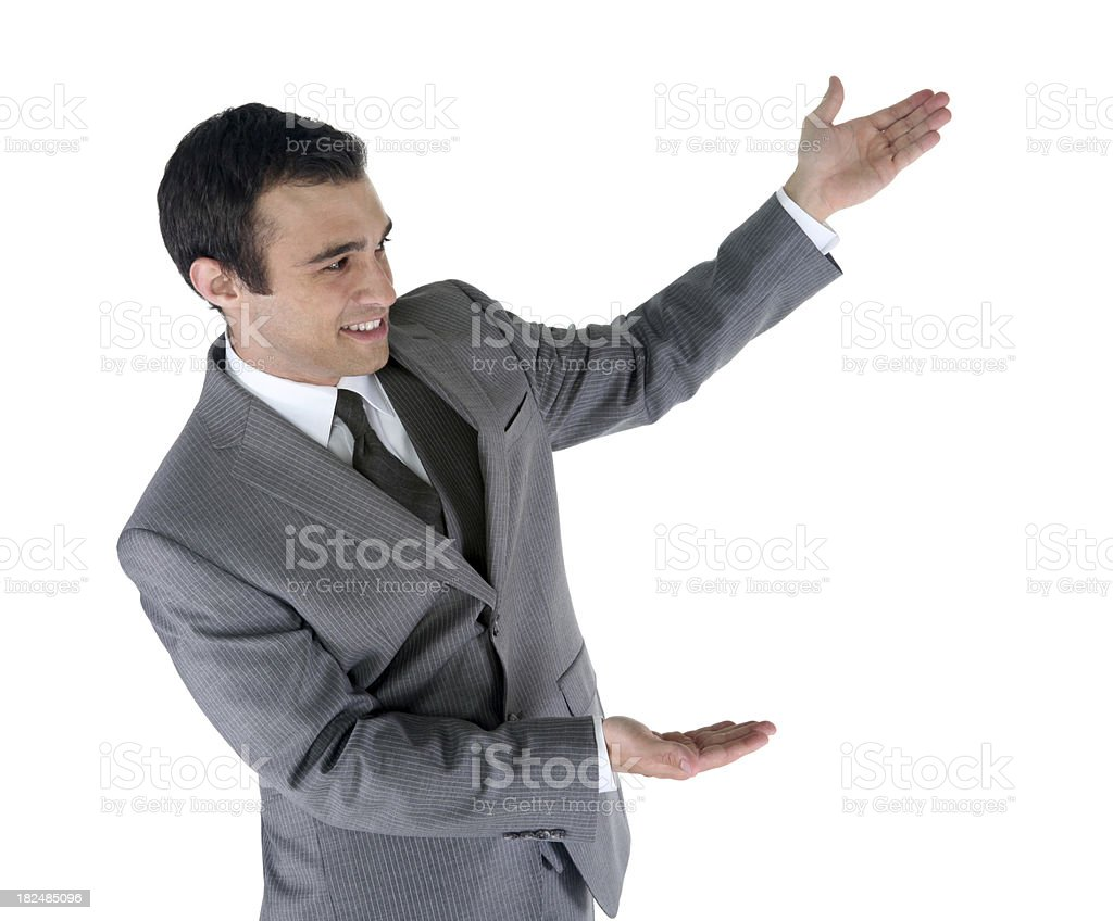 Attractive young businessman showing with hands royalty-free stock photo