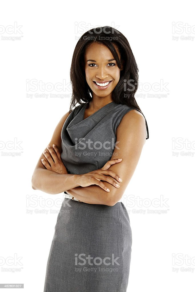 Attractive young businesswoman looking at camera smiling stock photo
