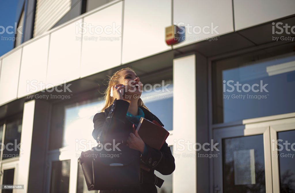 Attractive Young Businesswoman On The Phone stock photo
