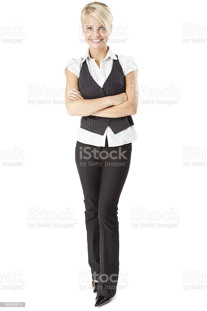 Attractive Young Businesswoman Wearing Vest stock photo
