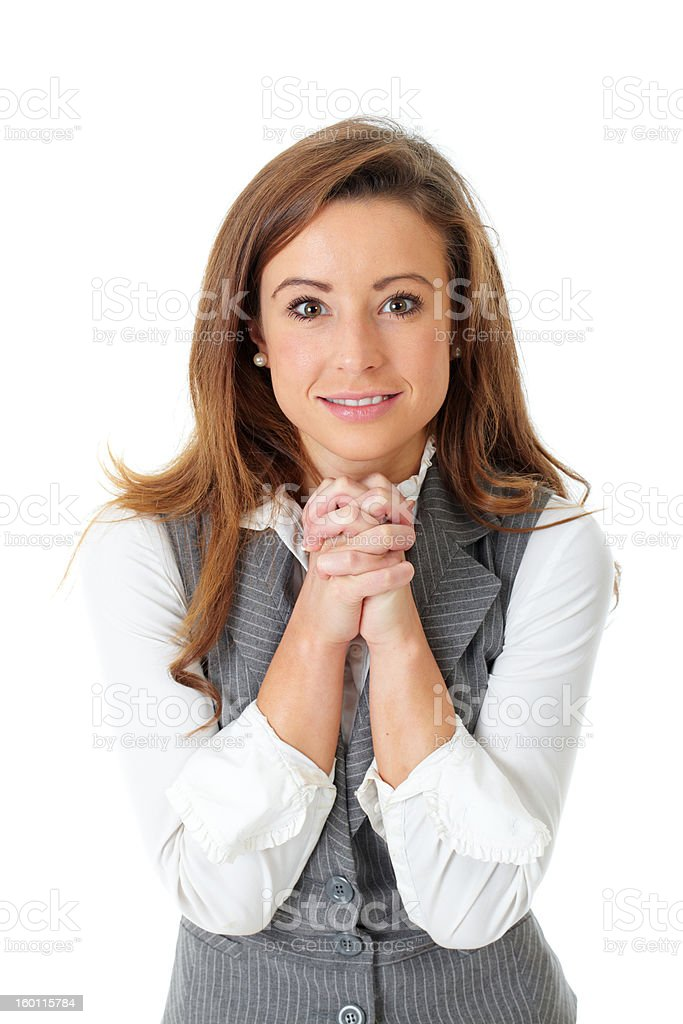 Attractive young businesswoman with thankful gesture, isolated stock photo