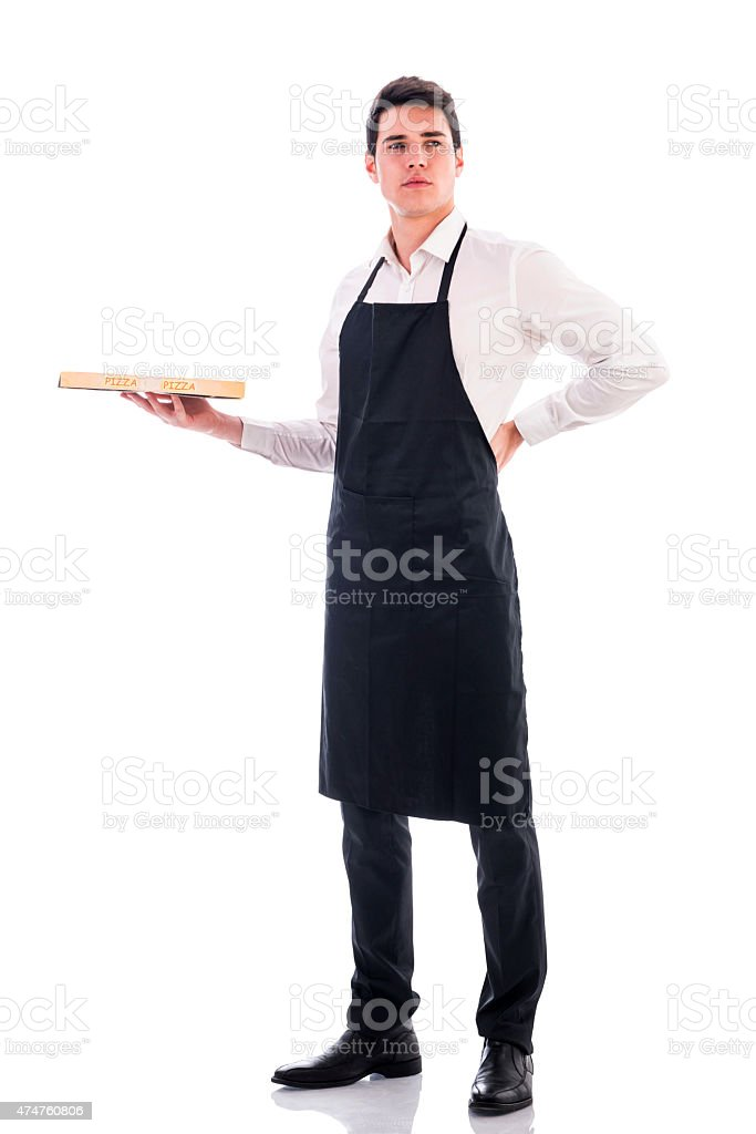 Attractive young chef or waiter holding pizza box stock photo