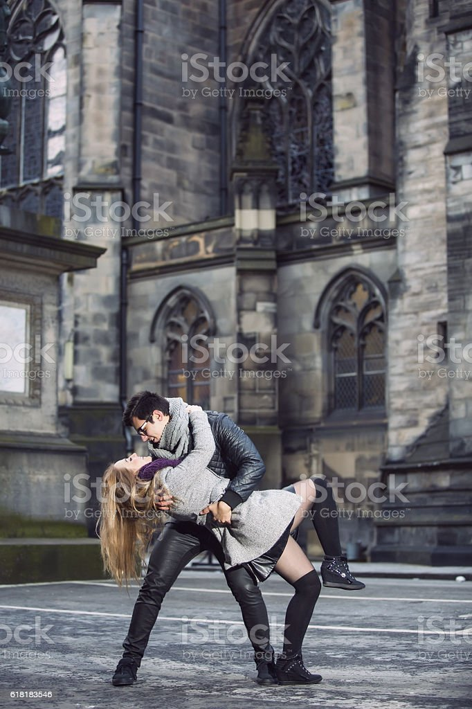 Attractive young couple in love stock photo
