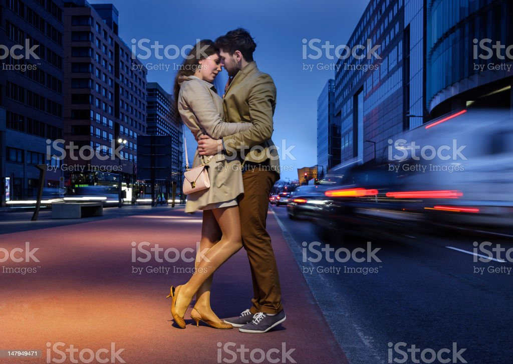 Attractive Young Couple on Potsdamer Platz Berlin royalty-free stock photo