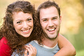Attractive Young Couple Together in the park