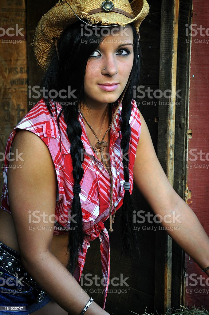 Attractive Young Farm Hand stock photo