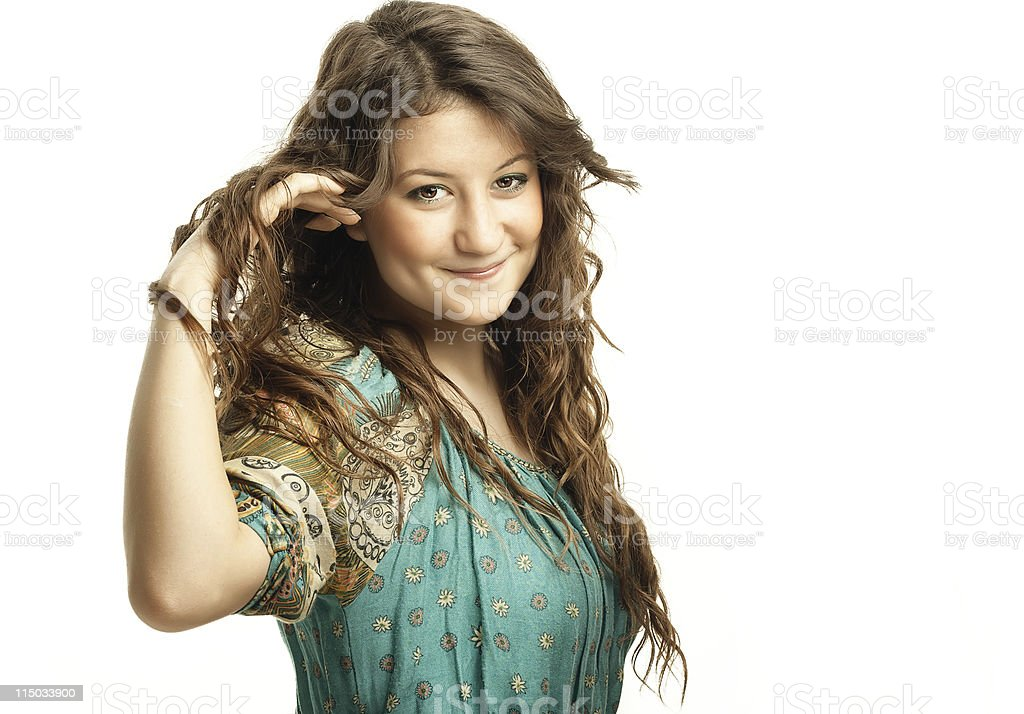 Attractive Young Girl holding her hair royalty-free stock photo