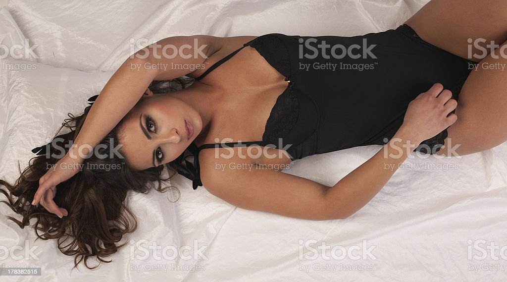 attractive young girl in underwear stock photo