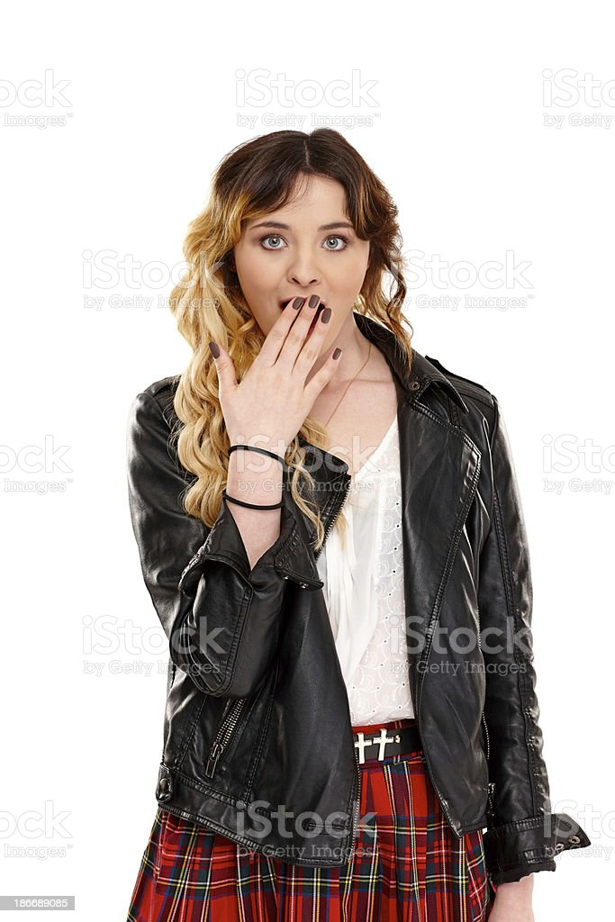 Attractive young girl looking surprised royalty-free stock photo