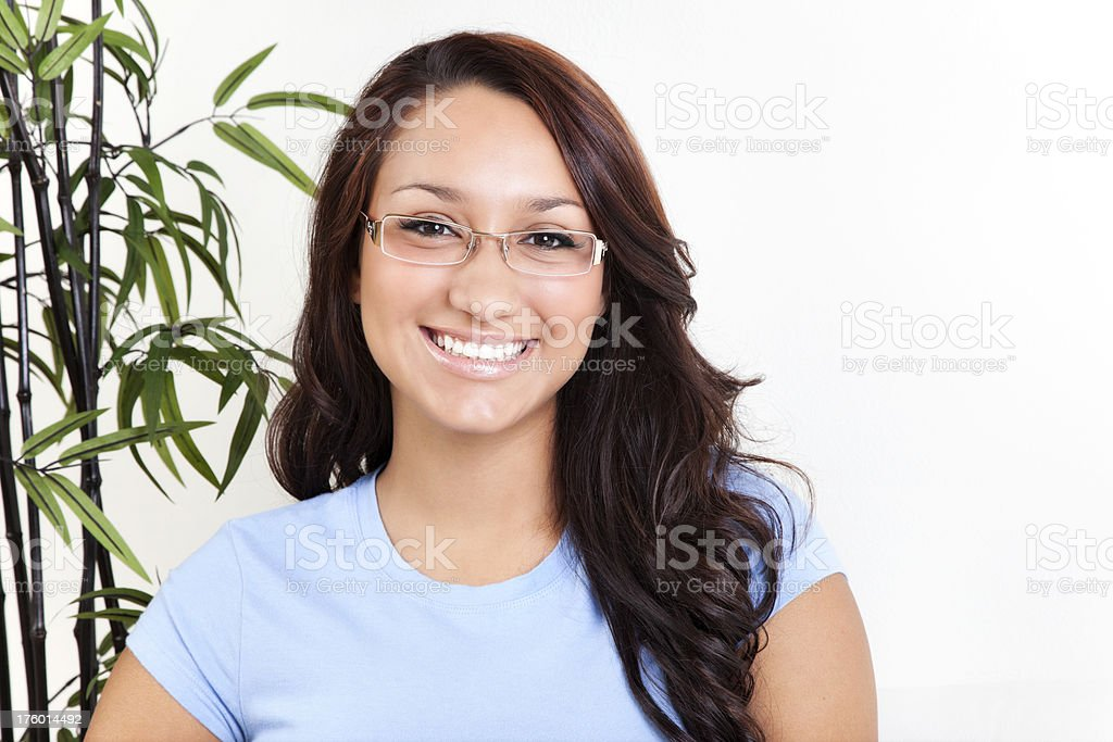 Attractive Young Hispanic Woman in Glasses royalty-free stock photo