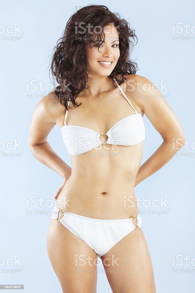 Attractive Young Hispanic Woman in White Bandeau Bikini royalty-free stock photo