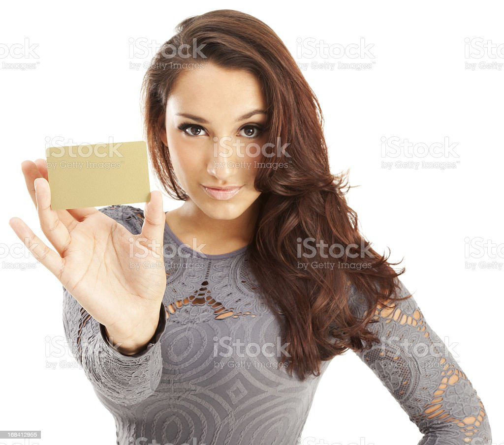 Attractive Young Hispanic Woman with Gold Credit Card royalty-free stock photo