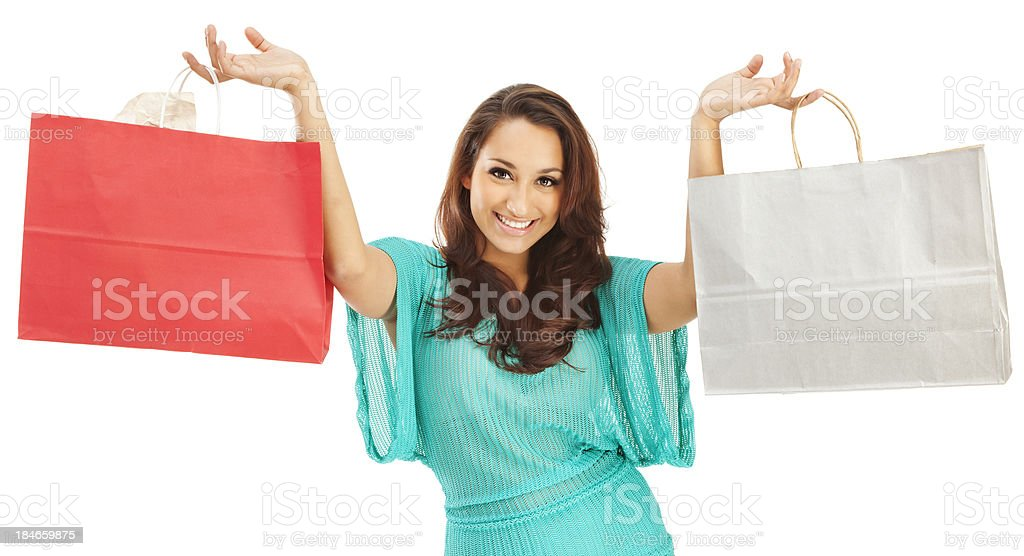 Attractive Young Hispanic Woman with Paper Shopping Bags royalty-free stock photo