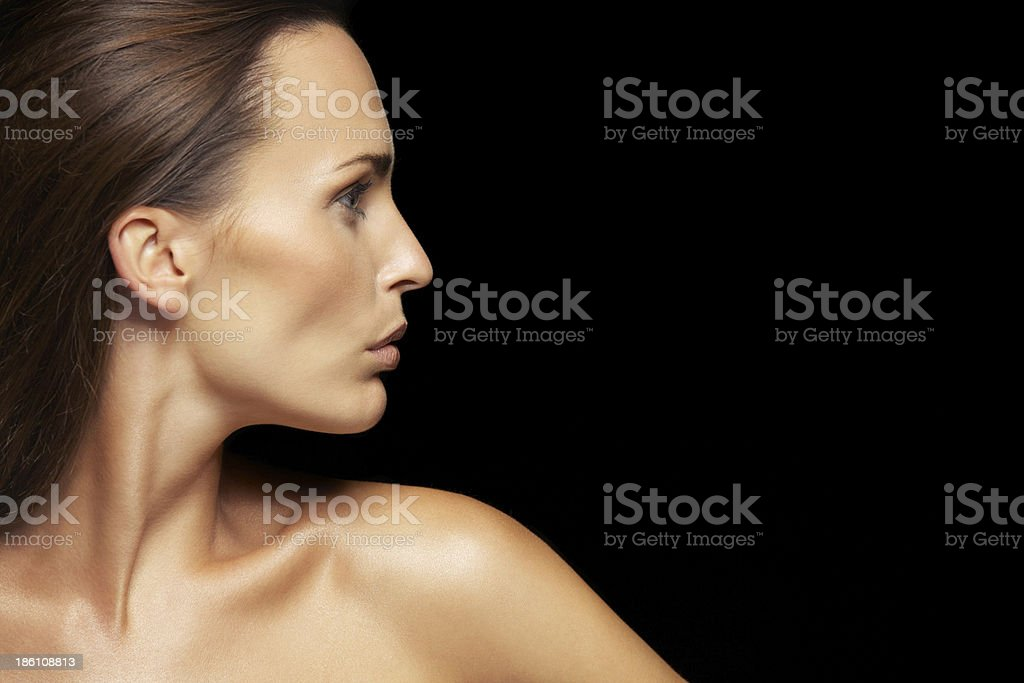 Attractive young lady with healthy skin stock photo