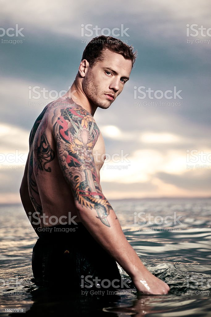Attractive Young Male in Water stock photo