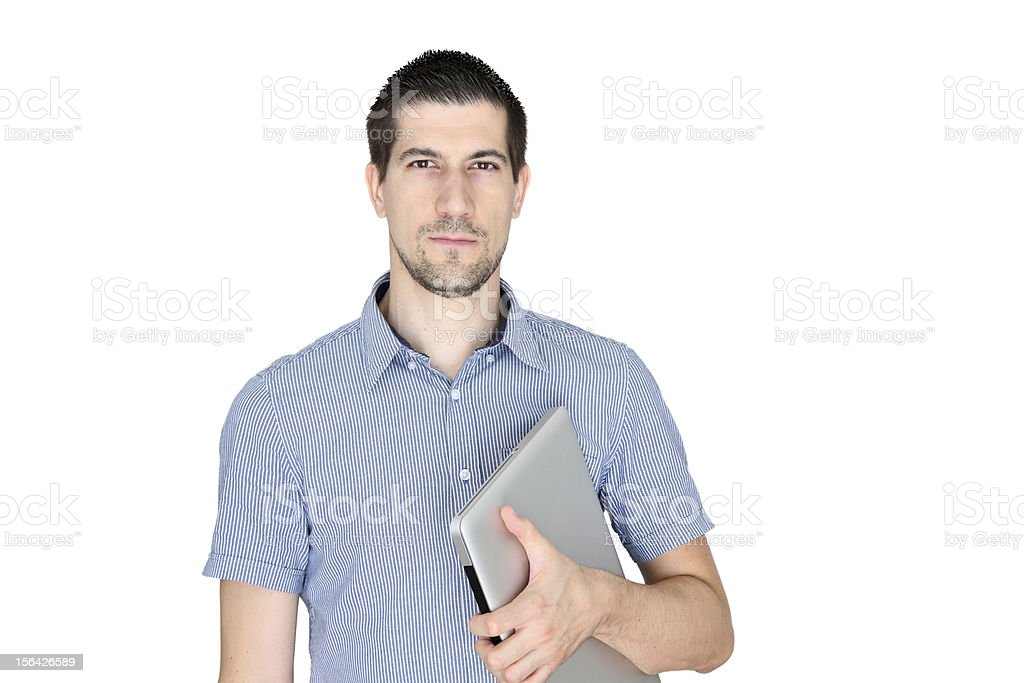Attractive young man holding laptop royalty-free stock photo