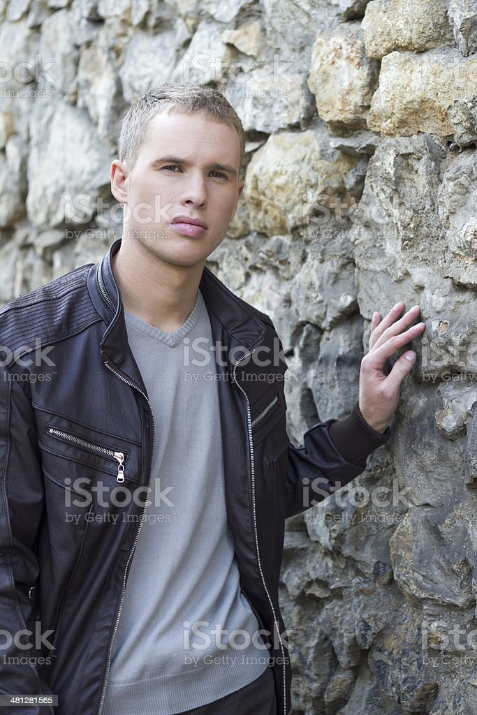 Attractive young man in urban background royalty-free stock photo