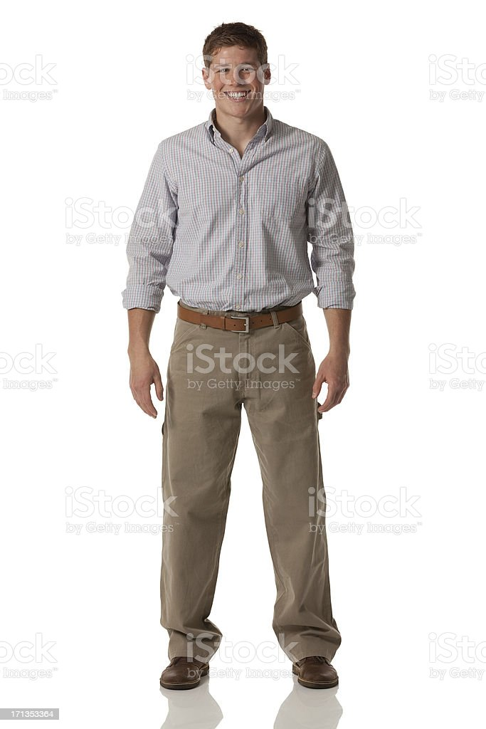 Attractive young man laughing stock photo