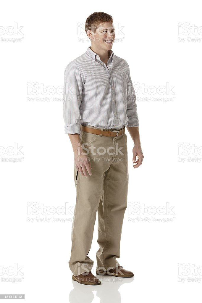 Attractive young man posing against white stock photo