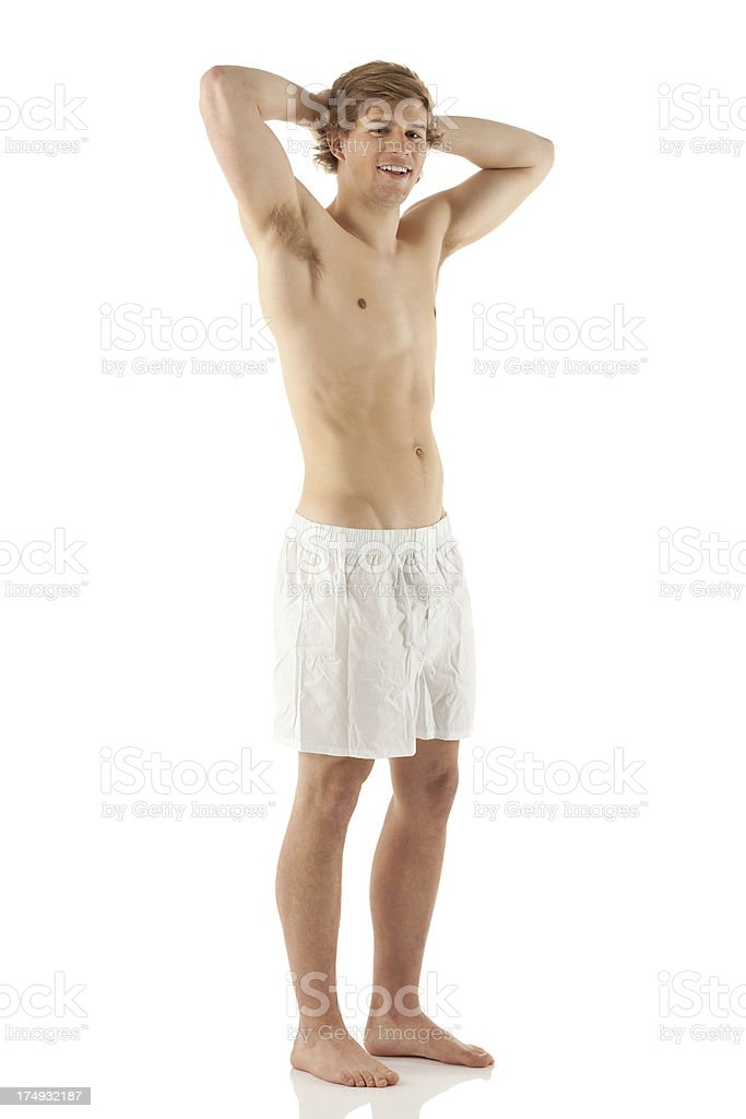 Attractive young man posing in underwear royalty-free stock photo