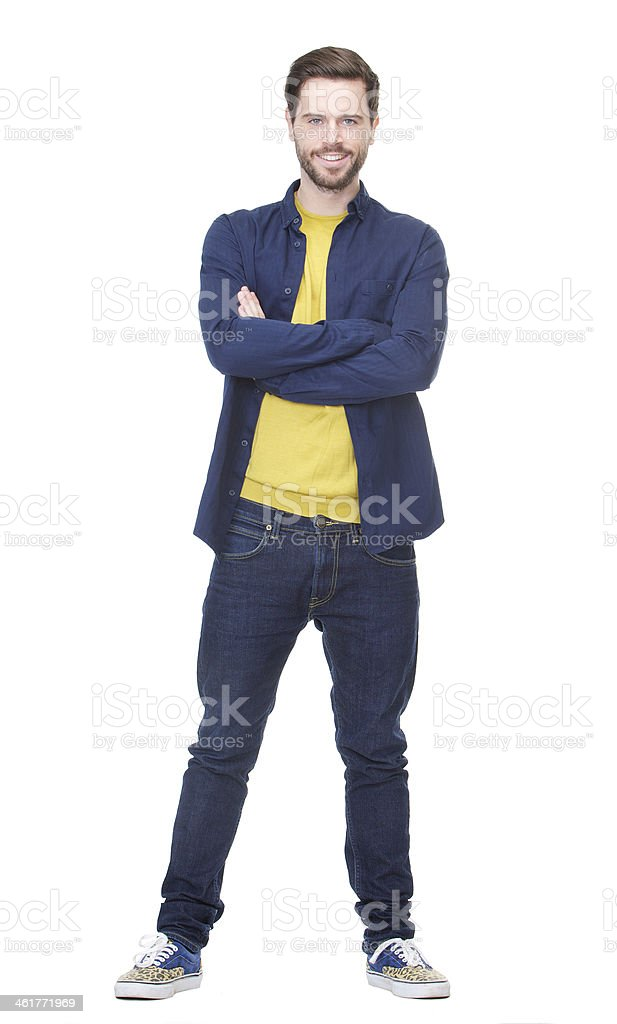 Attractive young man smiling on isolated white background stock photo