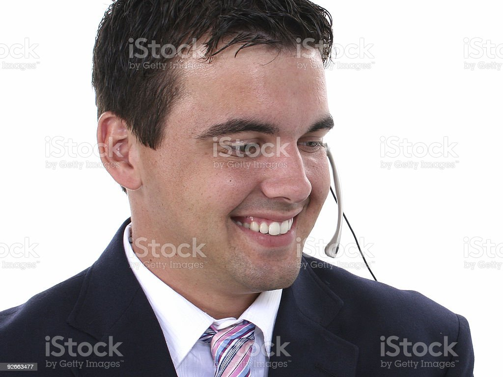 Attractive Young Man WearingHeadset royalty-free stock photo