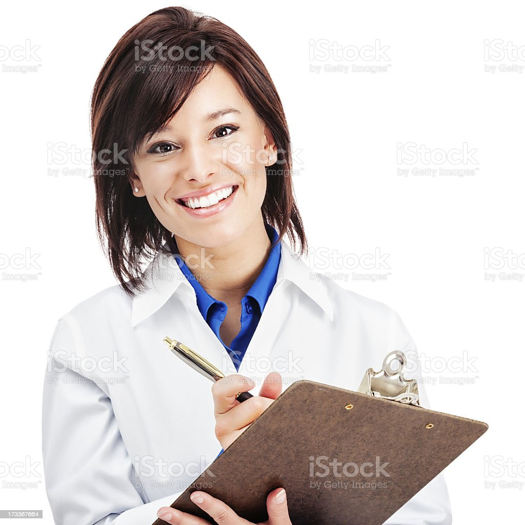 Attractive Young Medical Worker with Clipboard royalty-free stock photo