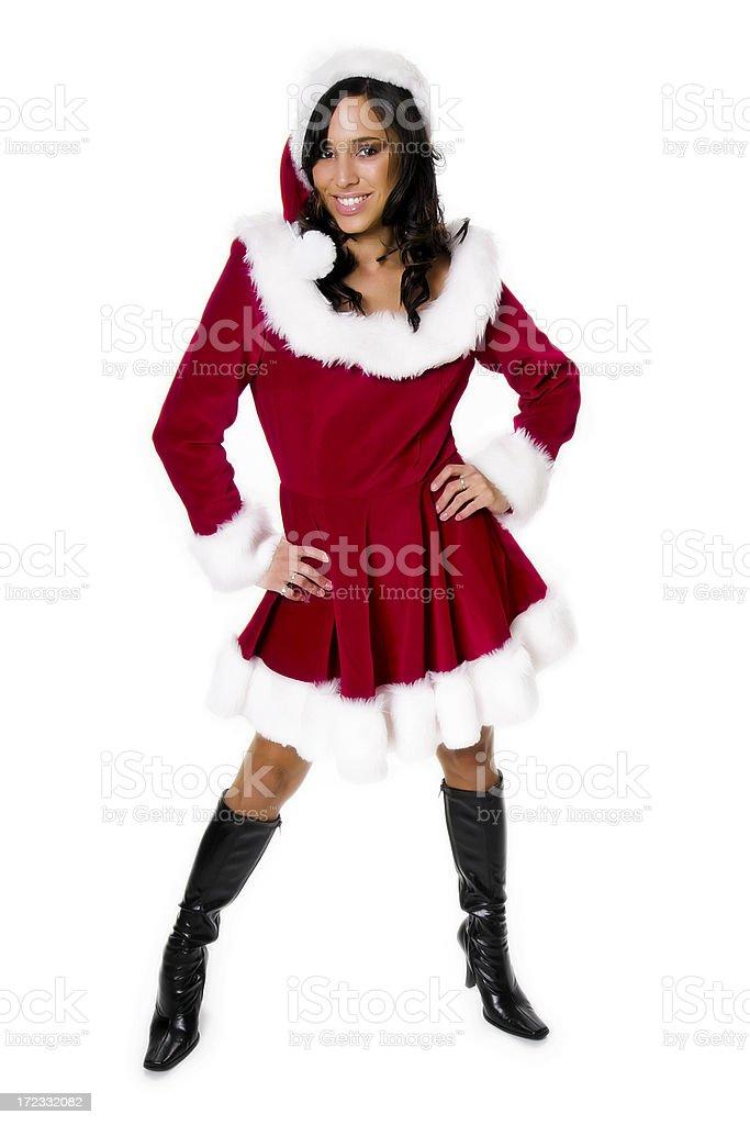 Attractive Young Miss Santa royalty-free stock photo