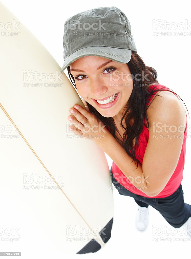 Attractive young surfer girl with surf board royalty-free stock photo