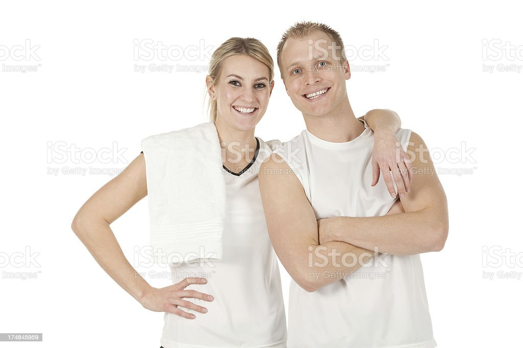 Attractive young tennis players smiling stock photo