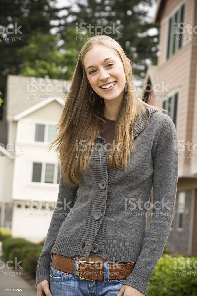 attractive young wife in a neighborhood royalty-free stock photo
