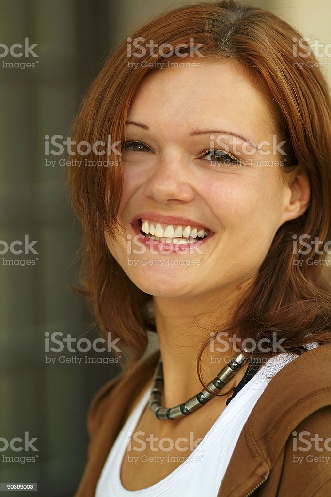 attractive young woman, being all smiles stock photo