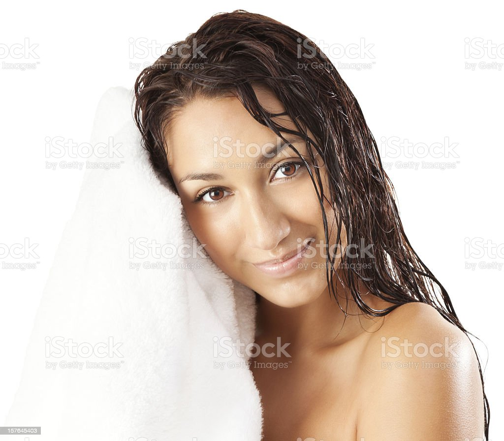 Attractive Young Woman Drying Off with White Towel royalty-free stock photo