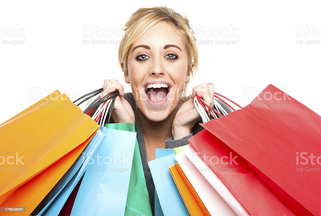 Attractive Young Woman Excited With Shopping Bags royalty-free stock photo