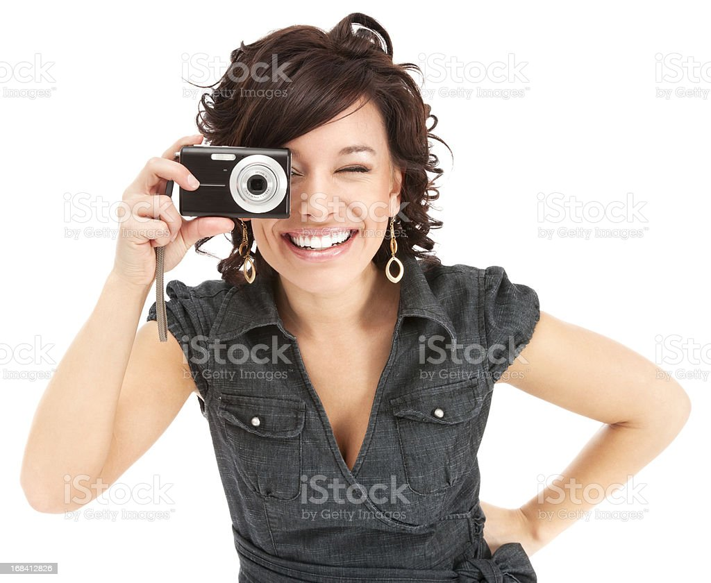 Attractive Young Woman Having Fun with Digital Camera royalty-free stock photo