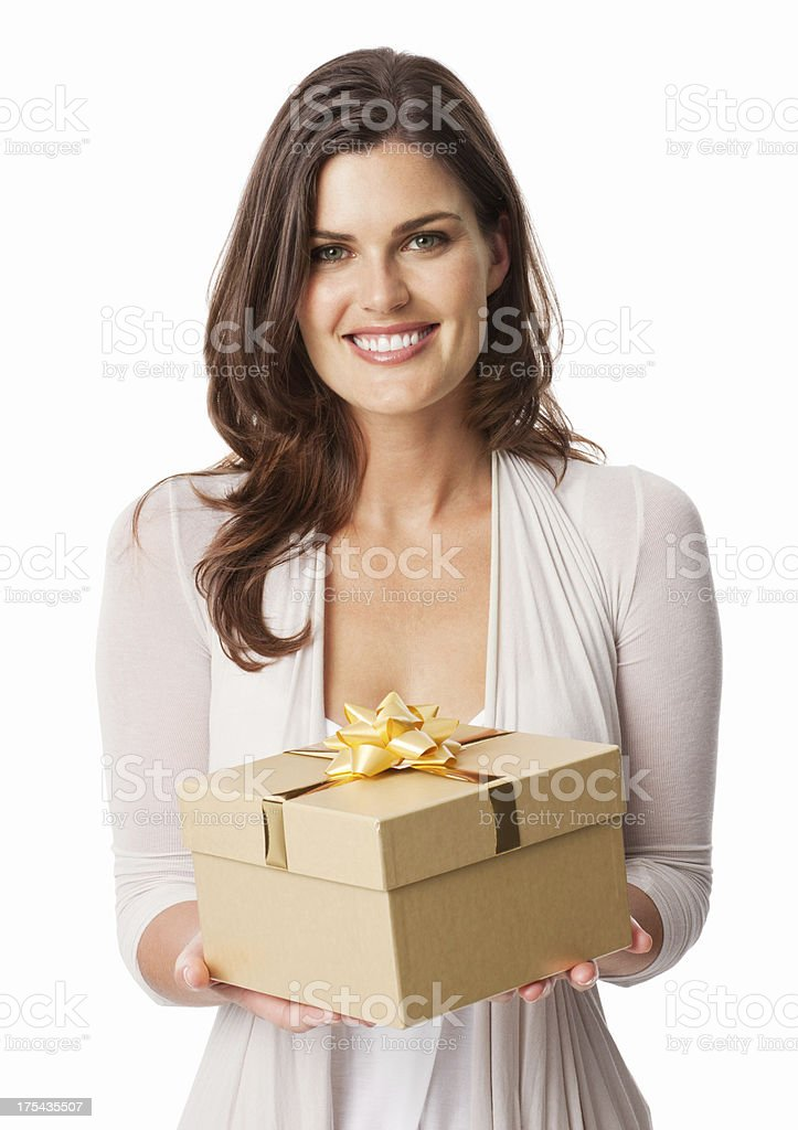 Attractive Young Woman Holding Gift - Isolated stock photo