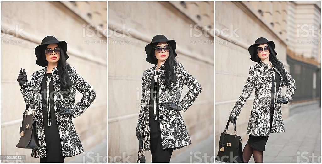 Attractive young woman in a winter fashion shot stock photo