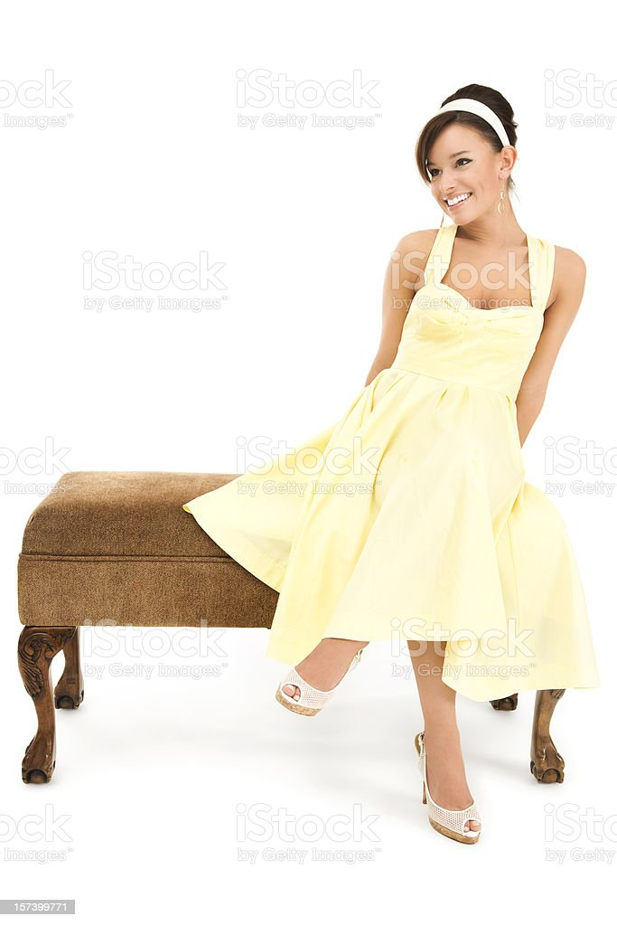 Attractive Young Woman in Bright Yellow Dress royalty-free stock photo