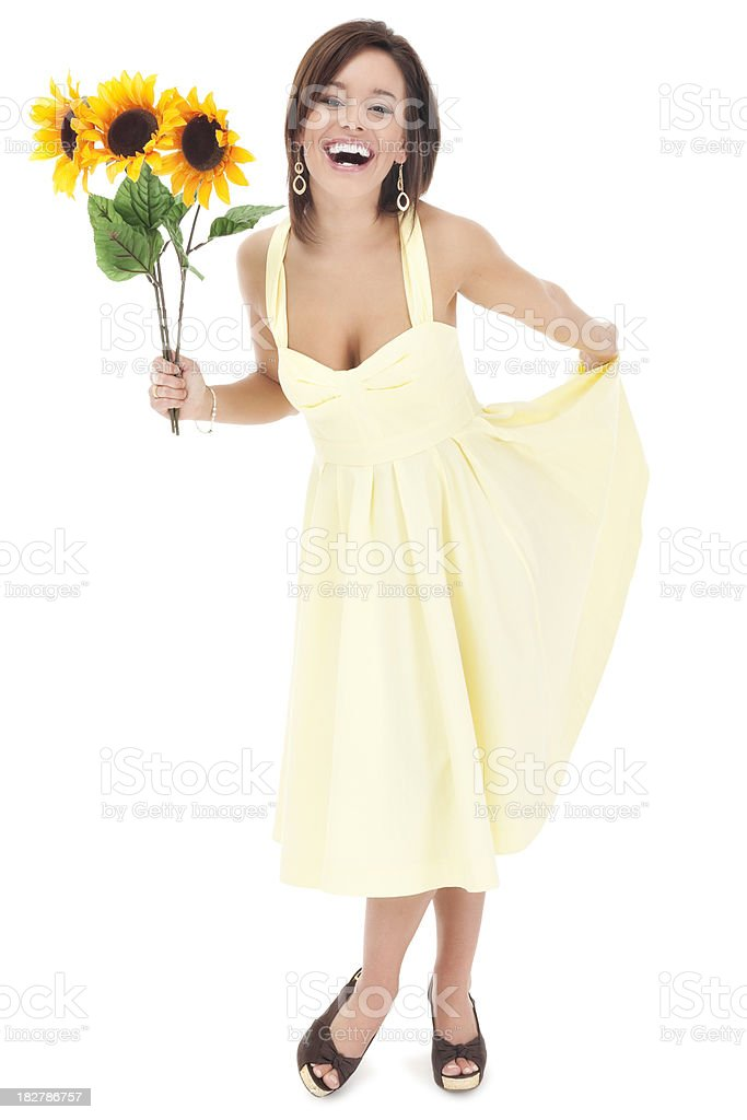 Attractive Young Woman in Bright Yellow Sun Dress royalty-free stock photo